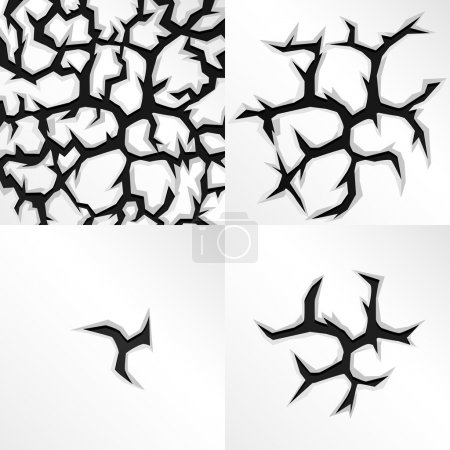 Illustration for Cartoon cracks in four stages. Vector illustration. - Royalty Free Image
