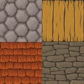 Collection of four vector cartoon seamless textures Stones roof tiles and wood planks