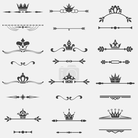 Collection of twelve vector vintage frames with crowns for desig