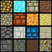 Collection of sixteen seamless pixel ground textures for game platforms Vector illustration