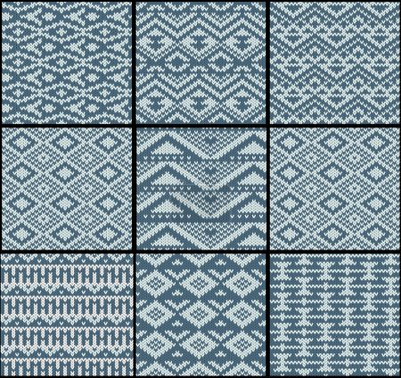 Collection of monochrome seamless knitted patterns with geometric ornament. Vector illustration.