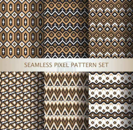 Collection of pixel colorful seamless patterns with stylized Greenland national ornament. Vector illustration.
