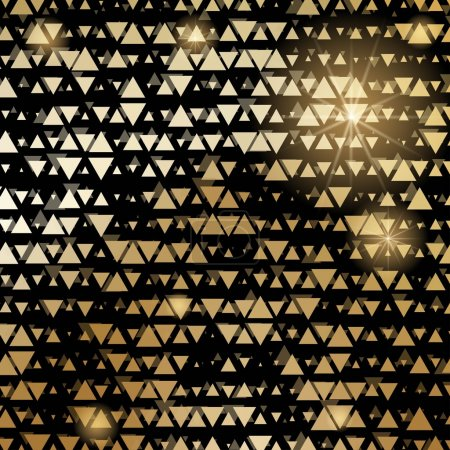 Illustration for Golden shiny triangle mosaic on black. Vector abstract background. - Royalty Free Image