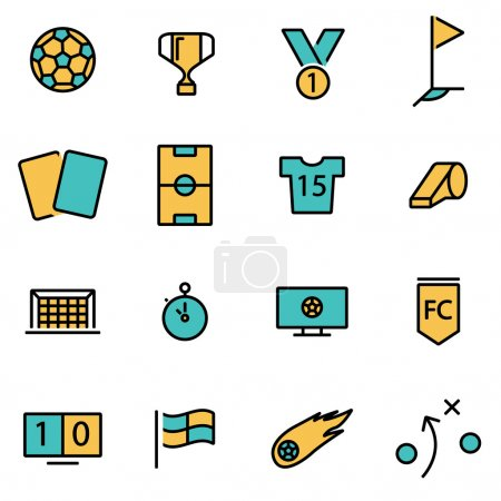 Trendy flat line icon pack for designers and developers. Vector line soccer icon set
