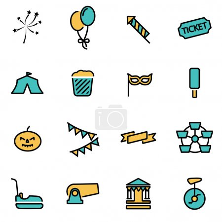 Trendy flat line icon pack for designers and developers. Vector line carnival icon set