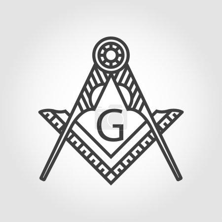 Vector grey masonic freemasonry emblem icon
