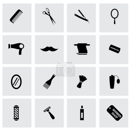 Vector black barber icons set