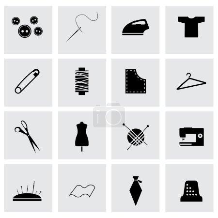 Illustration pour Icônes de couture vectorielles noires sur fond gris - image libre de droit