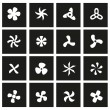 Vector black fans and propellers icon set on black...