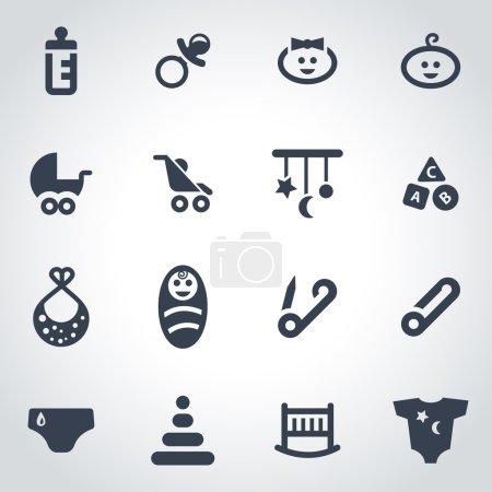 Vector black baby icon set