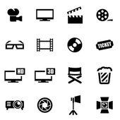 Sada ikon kino vektorové černá