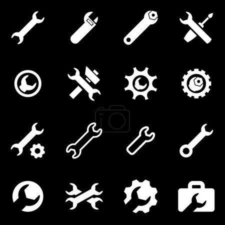 Vector white settings wrench icon set