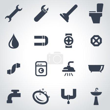 Illustration pour Vecteur icône de plomberie noire sur fond gris - image libre de droit
