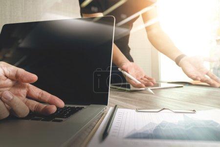 Designer hand working with digital tablet computer...