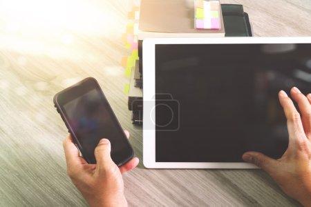 Website designer working blank screen digital tablet and books w