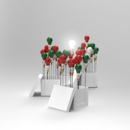 Photo for Pencil light bulb 3d as think outside of the box and merry's christmas as concept - Royalty Free Image