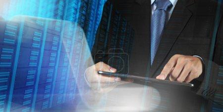 Businessman  pressing a touchscreen buttons