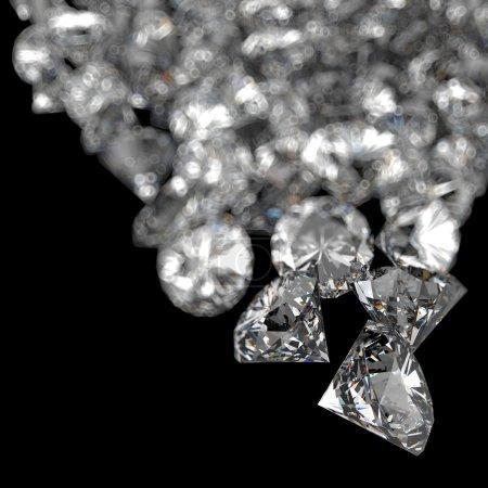 Diamonds 3d composition on black background