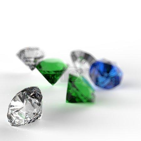 Diamonds 3d composition on white