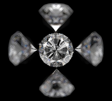 Diamonds 3d composition on black background
