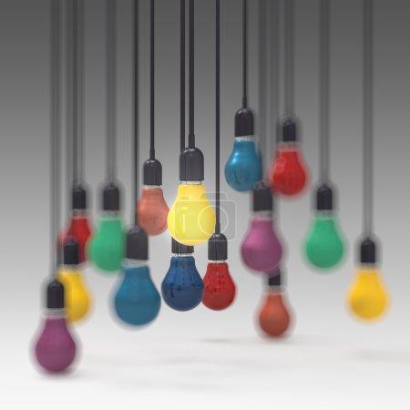 Photo pour Créatif idée et leadership concept 3d couleurs ampoule - image libre de droit