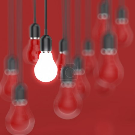 Photo for Creative idea and leadership concept with 3d light bulb - Royalty Free Image