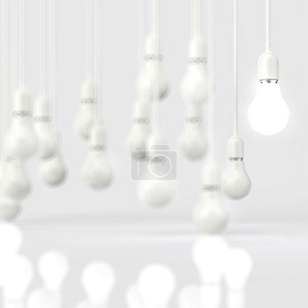 Foto de Idea y dirección concepto bombilla 3d diseño creativo - Imagen libre de derechos