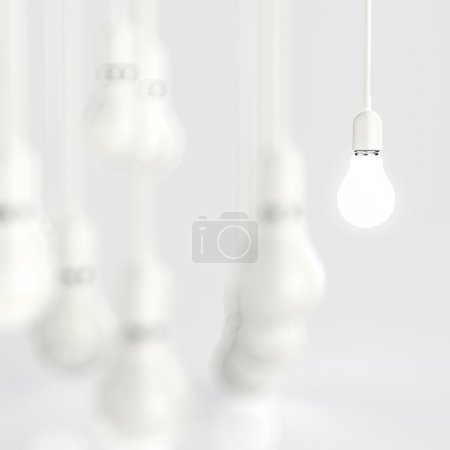 Photo for Creative idea and leadership concept light bulb 3d design - Royalty Free Image