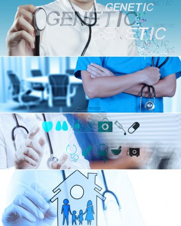 Photo for Collage of Various modern medical concept - Royalty Free Image