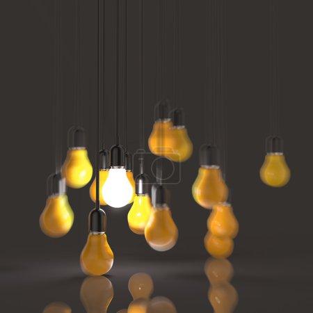 creative idea and leadership concept light bulb as leadership
