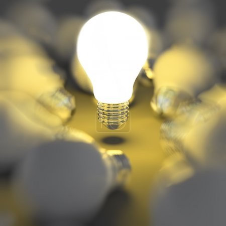 Photo for 3d growing light bulb standing out from the unlit incandescent bulbs as leadership concept - Royalty Free Image