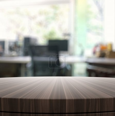 Photo for Empty wooden round table and blurred background for product presentation - Royalty Free Image
