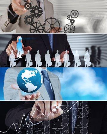 Photo pour Collage de la stratégie photo business comme concept - image libre de droit