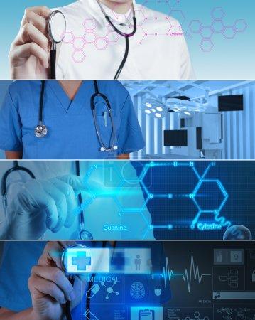 Photo pour Collage de divers concepts médicaux modernes - image libre de droit