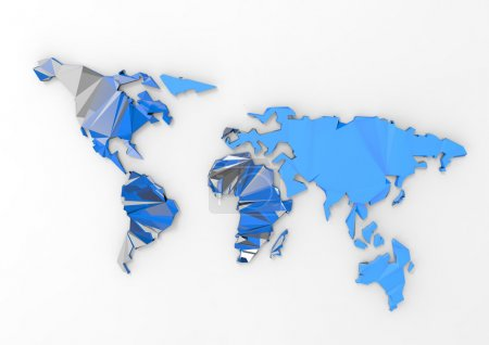 Photo for Low polygon 3d world map on white background - Royalty Free Image