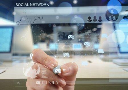 Photo pour Double exposition de l'homme d'affaires travaillant avec le concept de réseau de médias sociaux numériques - image libre de droit