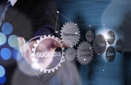 Photo for Double exposure of businessman hand shows gear business success chart and network diagram - Royalty Free Image