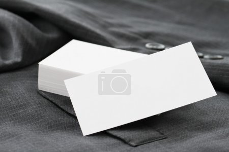 Photo for Blank corporate identity package business card with dark grey suit background. - Royalty Free Image