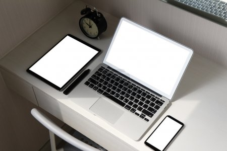 Blank screen laptop computer and smart phone and digital tablet