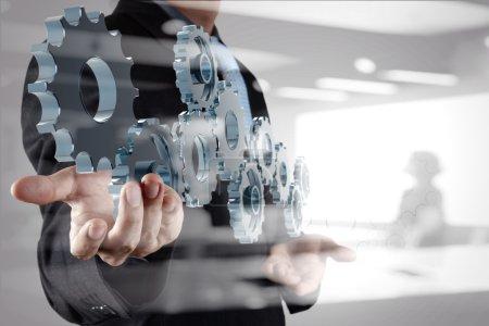 Photo pour Double exposition de main d'homme d'affaires d'affaires montre vitesse au concept de succès - image libre de droit
