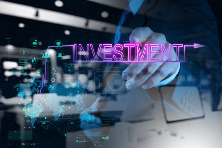 businessman hand pointing to investment diagram