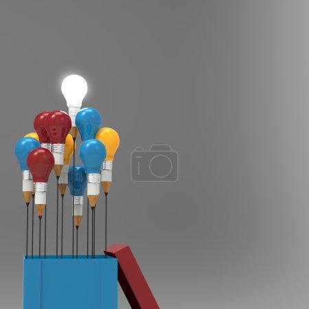 Zeichnung Idee Bleistift und Glühbirne Konzept außerhalb der Box als cr
