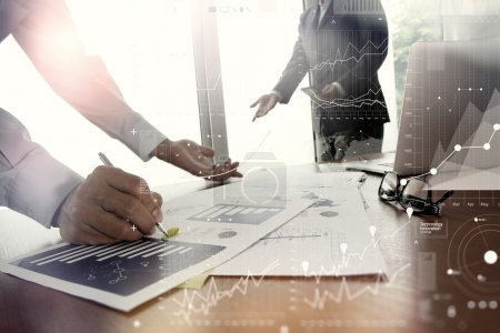 double exposure of business documents on office table with smart