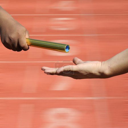 Relay-athletes hands