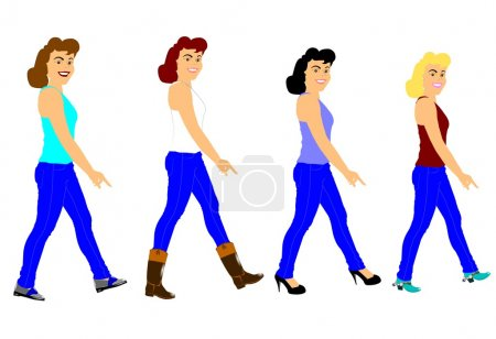 Photo pour Mesdames en jeans marchant avec différents styles de chaussures - image libre de droit