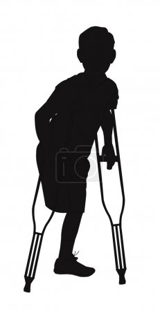 Photo for Man on crutches with amputated leg in silhouette - Royalty Free Image