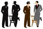 Men talking in silhouette