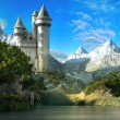 Fairytale castle on the slope of the mountains with forest and lake