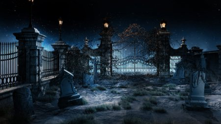 Old gothic cemetery with iron gate and lantern....