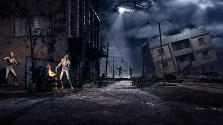 Scene with ruined city, helicopter and zombies...